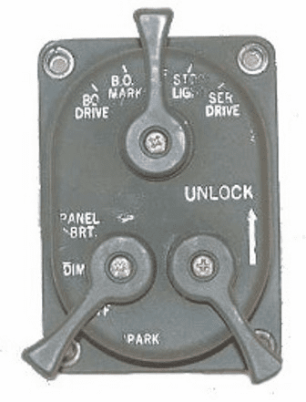 MS51113-1 Light Switch, 3 Lever Type, 24 Volt for Jeep M715 Truck