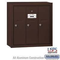 3 Door Bronze Surface Mount Apartment Mailbox