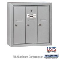 3-Door Silver Vertical Apartment Mailbox