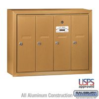 4 Door Brass Vertical Apartment Mailbox