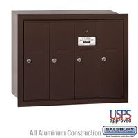 4 Door Bronze Recess Mount Apartment Mailbox