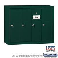 4 Door Green Vertical Apartment Mailbox