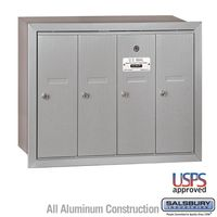 4 Door Silver Recess Mount Apartment Mailbox