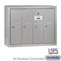 4 Door Silver Vertical Apartment Mailbox