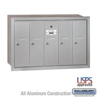 5 Door Silver Recess Mount Apartment Mailbox