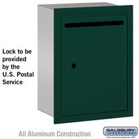 Apartment Vertical Outgoing Recessed Letter Box Green