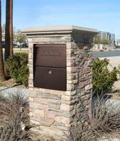 Small Package Locking Column Mailbox in Stone Column