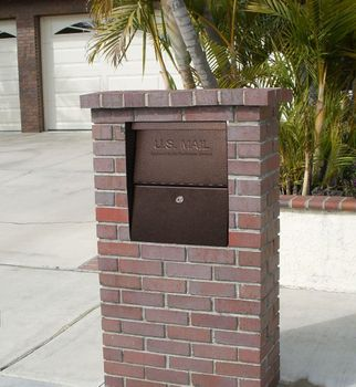 Small Package Locking Column Mailbox in Used Brick Column