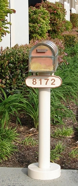 Streetscape Belmont Post with Westchester Mailbox and Address Plaque