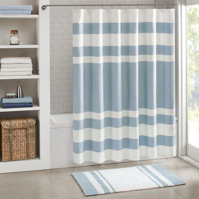 54x78 Size New Spa Waffle Shower Curtain With 3M Treatment Blue Madison Park