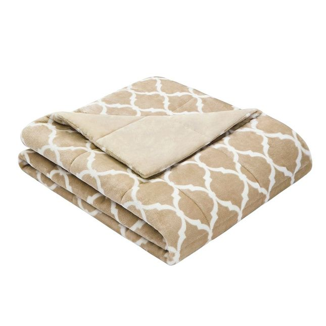 """60x70"""" Size Ogee Oversized Down Alternative Throw Brown Madison Park MP50-1855"""