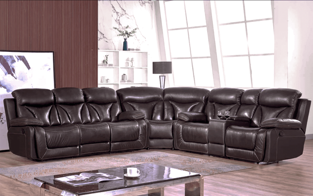 Dark Brown Genuine Leather Reclining 3pc Sectional Sofa w/ Console