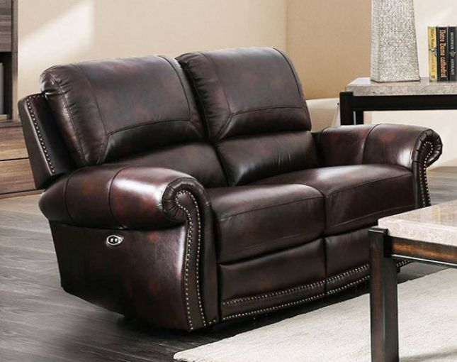 Brown Genuine Leather Power Reclining Loveseat Rolled Arms Nailhead Trim
