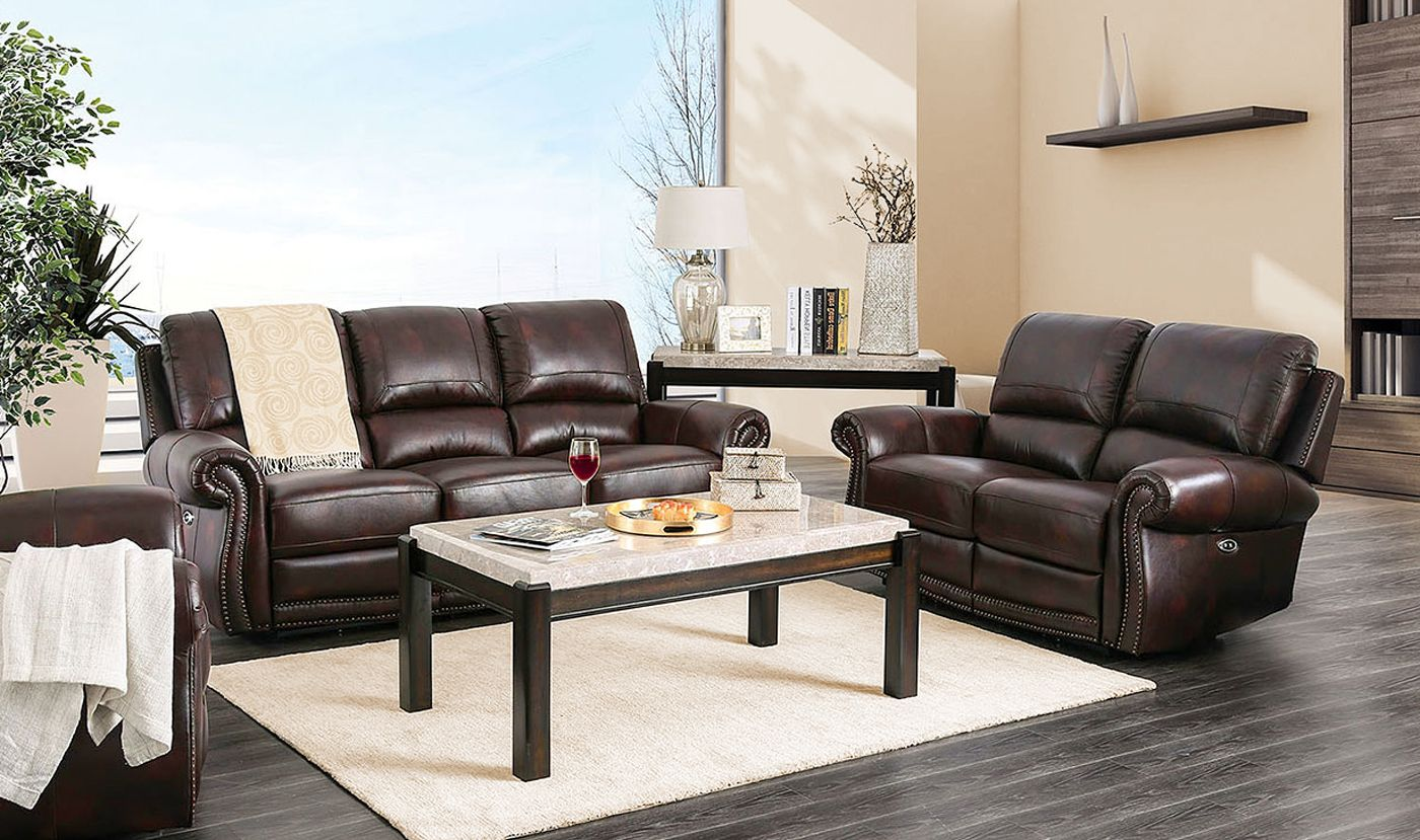 Brown Genuine Leather Power Reclining Sofa & Loveseat Nail ...