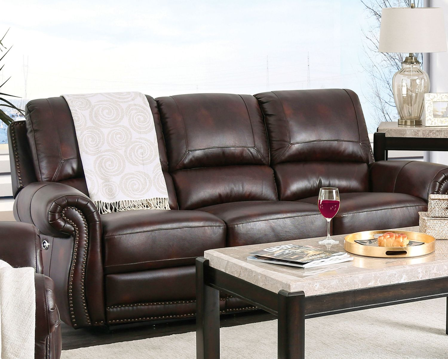 Brown Genuine Leather Power Reclining Sofa Amp Loveseat Nail