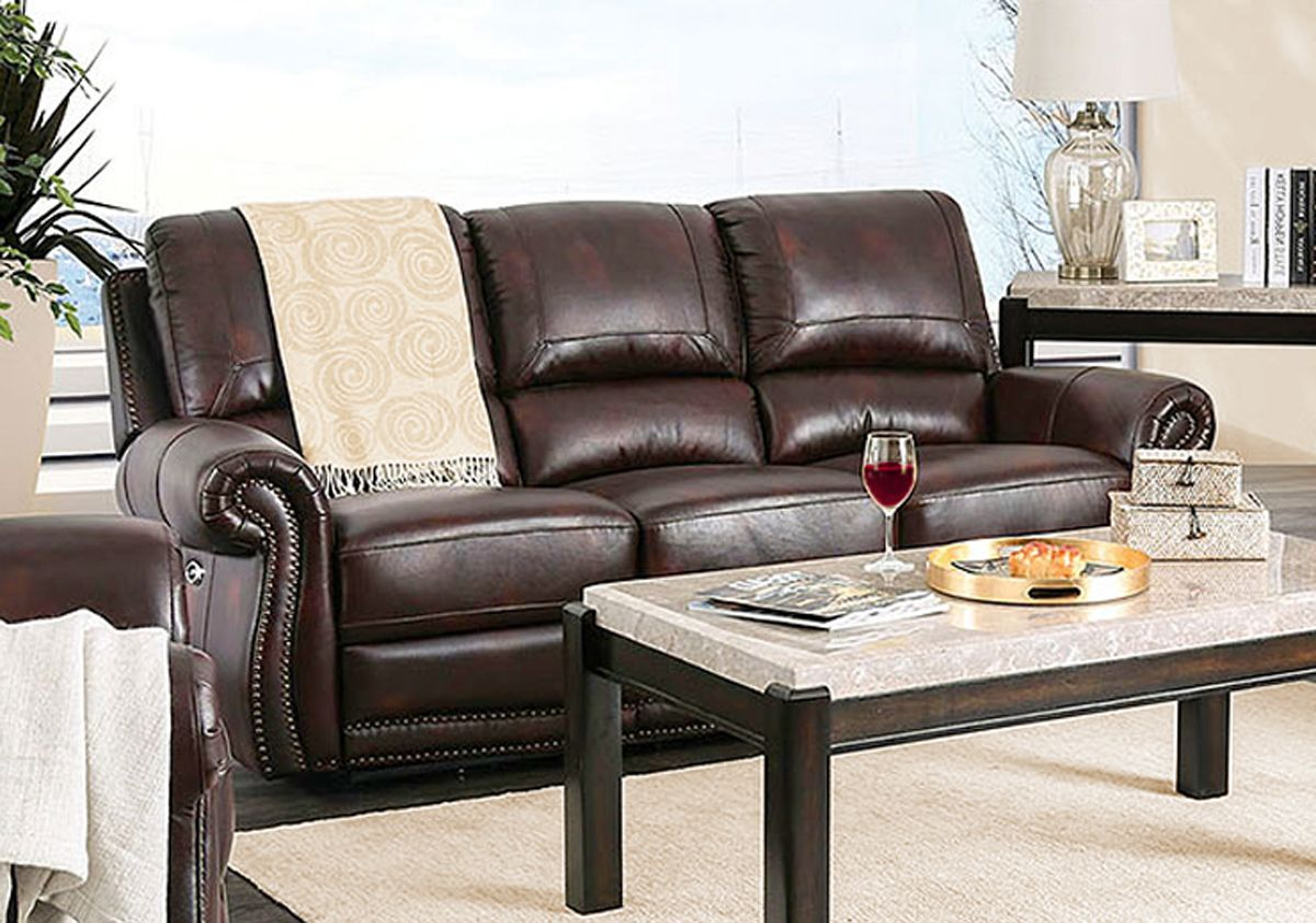 Brown Genuine Leather Power Reclining Sofa Rolled Arms ...