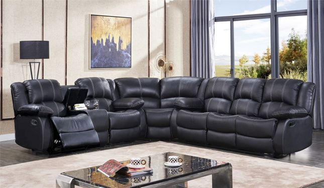 Black Genuine Top Grain Leather Reclining Sectional Sofa Set w/Cup Holders