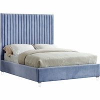 Laila Contemporary Sky Blue Velvet Platform Queen Bed w/Channel Tufted Oversized Headboard