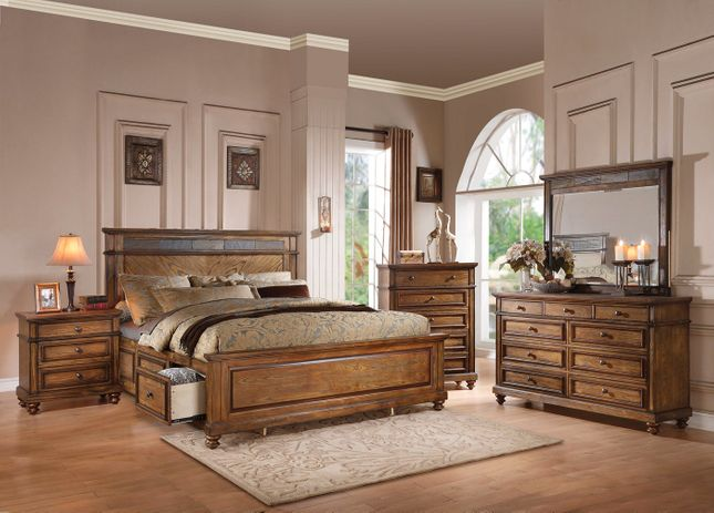 abilene rustic 4pc queen storage bed set with stone