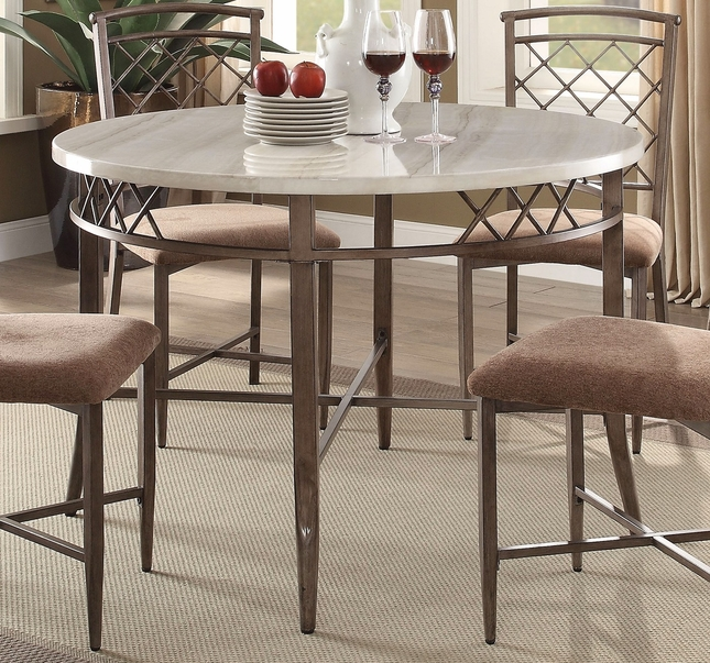 Adalgar Casual 45 Round Grey Faux Marble Dining Table W