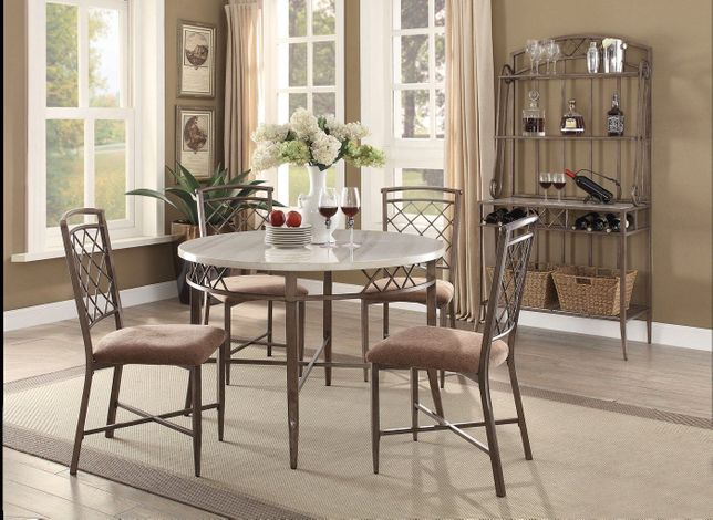 Adalgar Grey Round Dining Table And Chairs Faux Marble