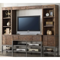 Adelia Modern Rustic Entertainment Center w/Shelf Bridge in Reclaimed Oak Finish