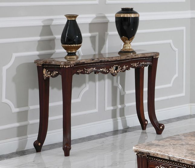 Dark Wood Marble Top Console Table