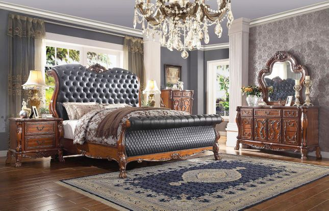 Traditional Ornate Queen Upholstered Button-Tufted Sleigh Bed 4 Piece Set Cherry Finish