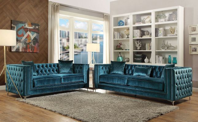 Aegean Contemporary Dark Teal Tufted Velvet Sofa & Loveseat w/ Silver Accents