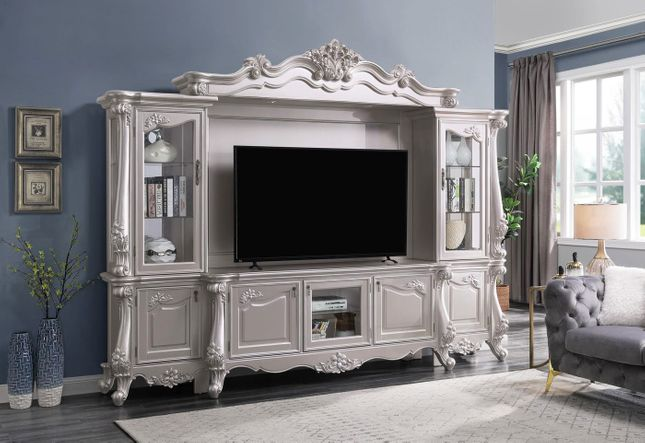 "Traditional Champagne Pearl 75"" TV Console Entertainment Center Wall Unit"