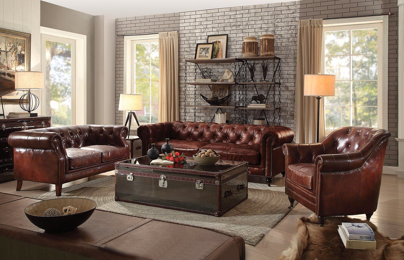 Vintage Chesterfield Sofa & Loveseat | Dark Brown Leather ...