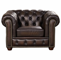 Albany Traditional Dark Brown Chesterfield Chair in 100% Genuine Leather