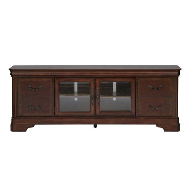 Alexandria Traditional Entertainment TV Stand in Autumn Brown Finish