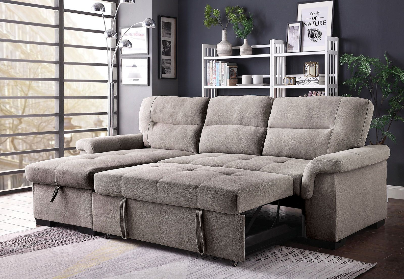 Anabel Contemporary Sectional Sofa w/ Sleeper in Light ...