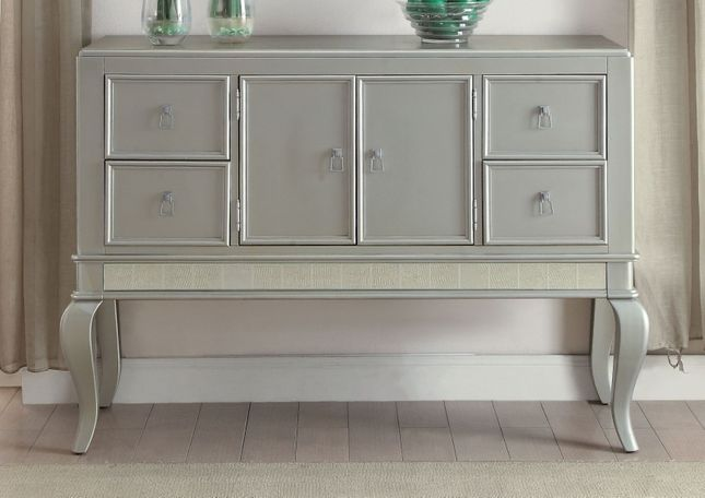 Anastasia Modern 4-Drawer Sideboard with Mirror Accents in Champagne Finish