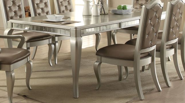Anastasia Modern 73 92 Dining Table With Mirror Accents In
