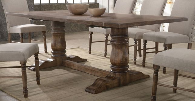 Andover Transitional Wooden 88 Trestle, Trestle Dining Room Table