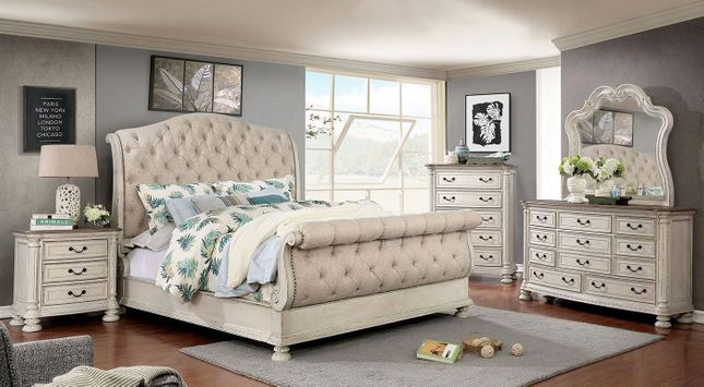Traditional Button Tufted California King Sleigh Bed Rustic White Bedroom Set