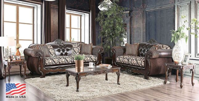 Brown Button Tufted Traditional Carved Wood Sofa & Loveseat Living Room Set