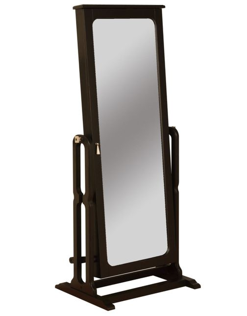 Cheval Mirror Jewelry Wardrobe in Antique Black Finish w/Brown Lining