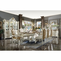 Antique Pearl White Traditional Luxury Formal Dining Room Furniture Set
