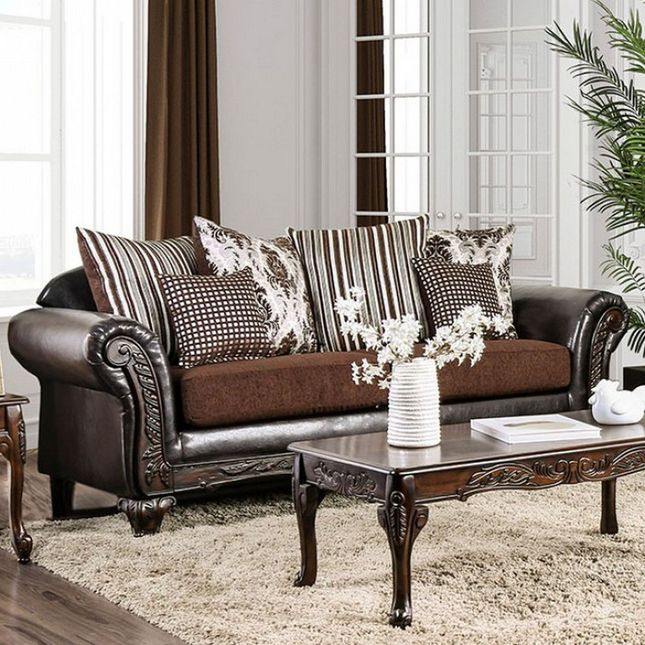 Terrific Antoinette Brown Chenille Faux Leather Sofa With Exposed Pdpeps Interior Chair Design Pdpepsorg