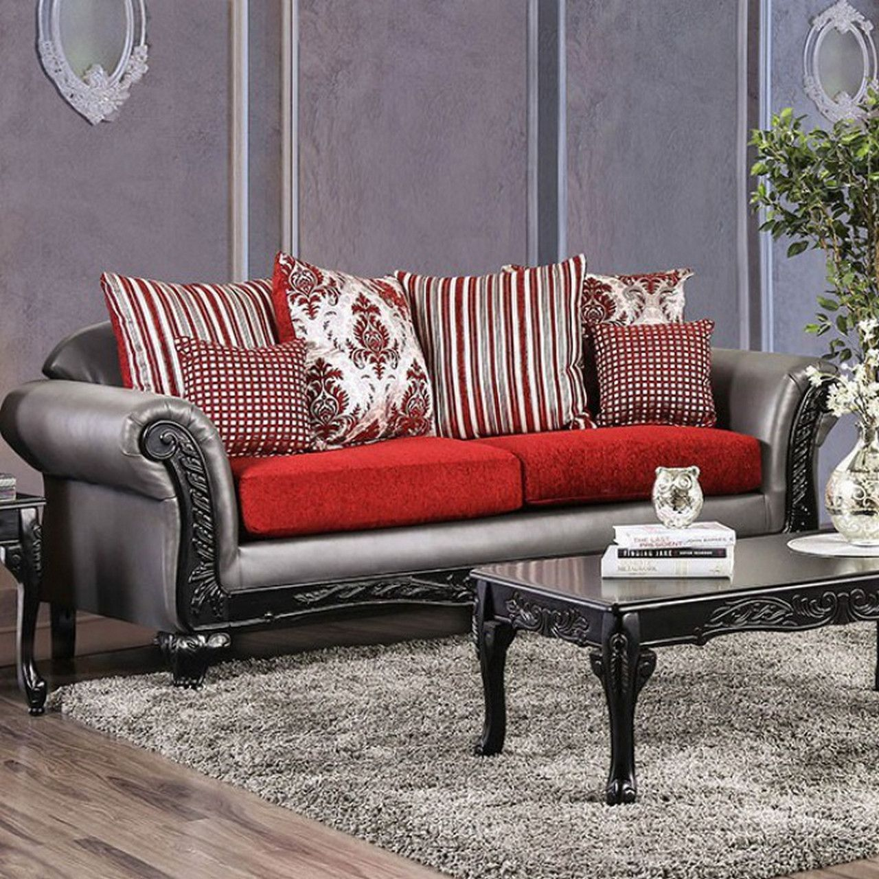 Antoinette Grey Faux Leather Amp Red Chenille Sofa With