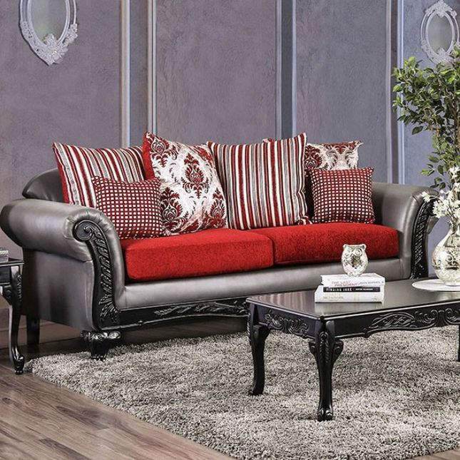 Antoinette Grey Faux Leather & Red Chenille Sofa with ...