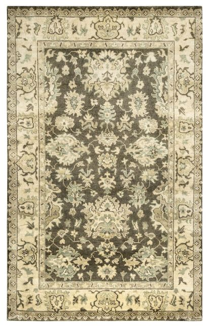 Aquarius Ornamental Border New Zealand Wool Area Rug In Grey Beige