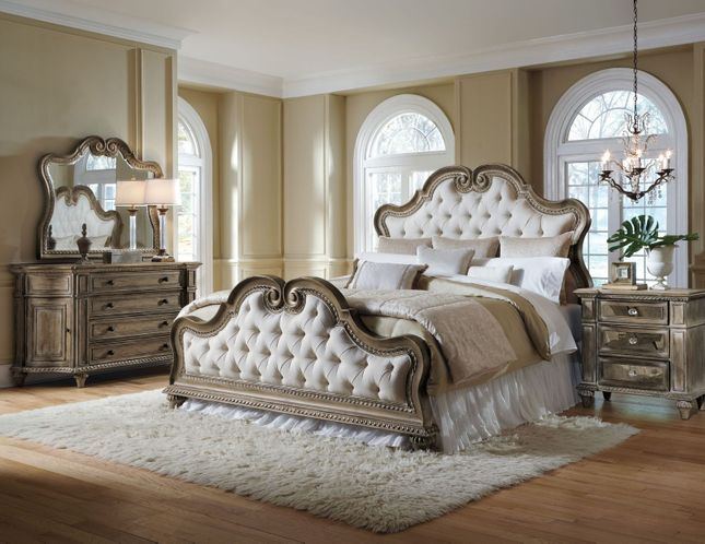 Arabella Upholster Rustic Glam/Antique Bedroom Set Cal King ...