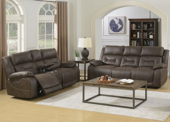 Aria Recliner Sofa Set With Head Rest In Saddle