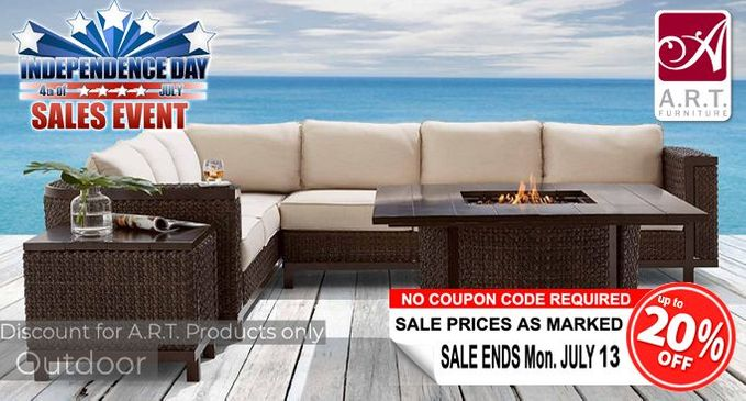 A.R.T. Independence Day Sale SAVE an additional 20% on Luxury Outdoor Furniture