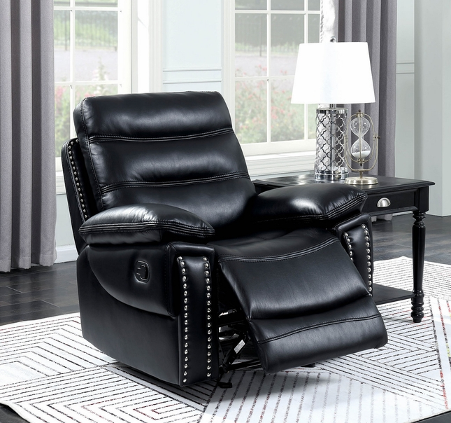 Artemis Contemporary Black Faux Leather Recliner with ...