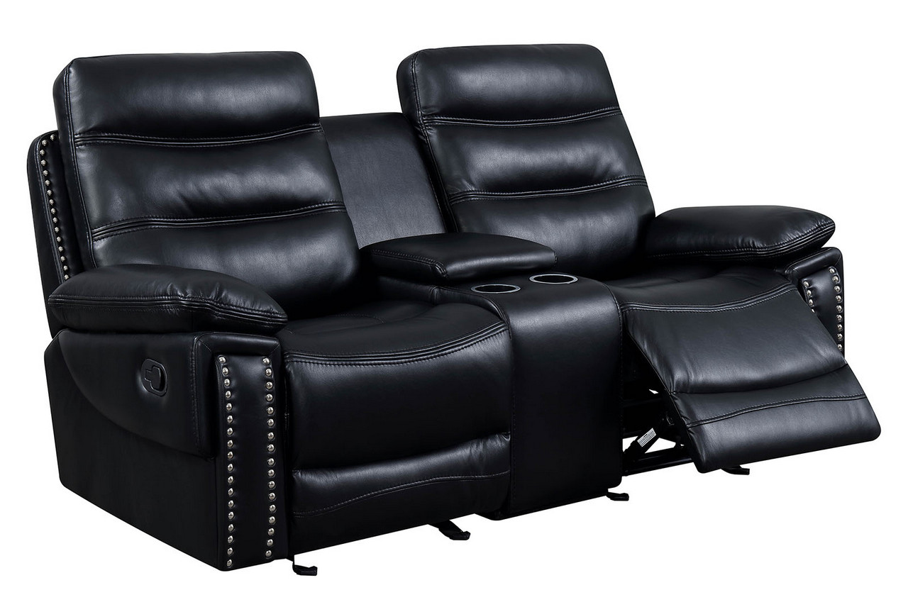 Artemis Contemporary Black Faux Leather Reclining Loveseat